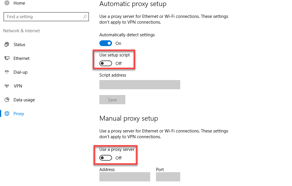 how to change proxy on win 10